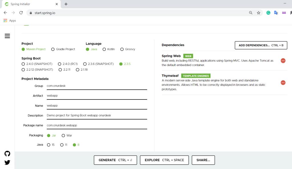 SpringBoot webapp setup