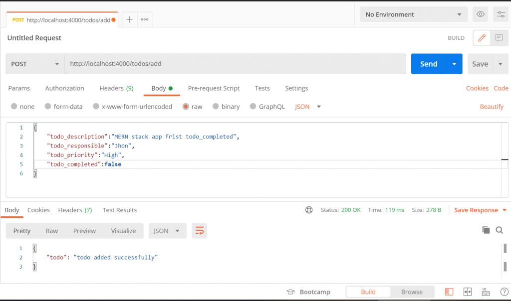 POST API for MERN stack app