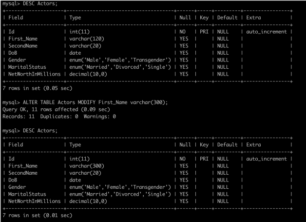 How to use alterations and alter index in SQL