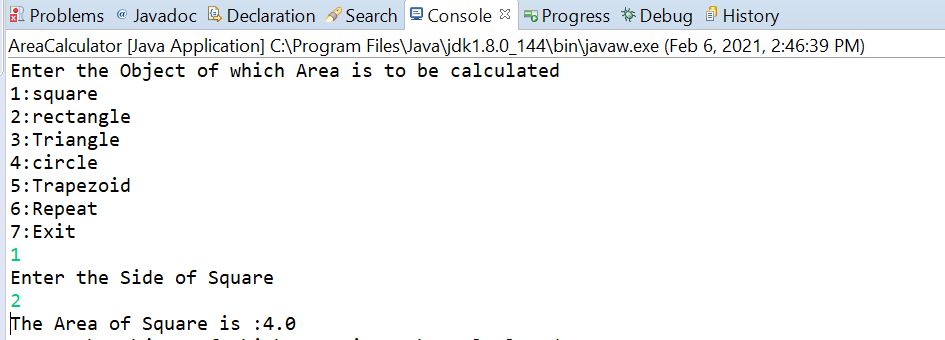 Write a Program to Calculate Areas in Java.