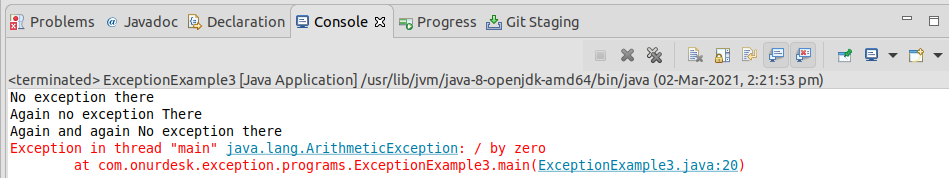Write a program to show exception in java
